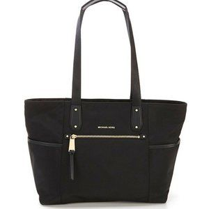 New Michael Kors POLLY Large  Zip Tote Bag Black
